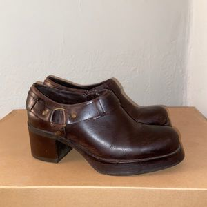Mia brown leather booties.